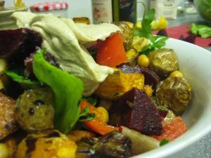 Roast veg salad with tahini dressing